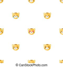 Vector flat cartoon tiger heads with different emotions seamless pattern. Animal emoticons background.