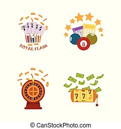 vector flat casino symbols icon set