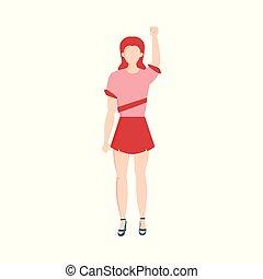 Vector flat caucasian woman in skirt fist up