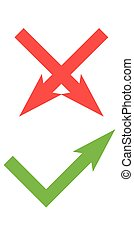 Vector flat check mark icons for web and mobile apps. Red and green colors.
