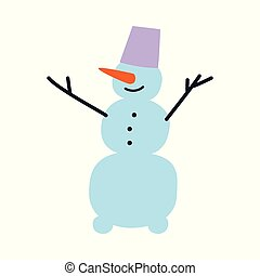Vector flat cheerful snowman