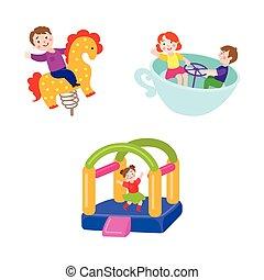 vector flat children at amusement park set
