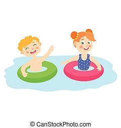 vector flat children in inflatable rings in pool