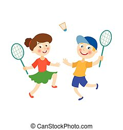 vector flat children playing badminton shuttlecock - vector...