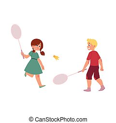 vector flat children playing badminton shuttlecock