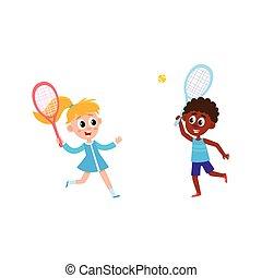 vector flat children playing badminton shuttlecock