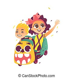 vector flat children riding on roller coaster