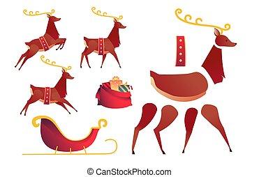 Vector flat christmas reindeer creation set, kit