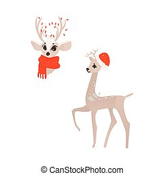 Gold christmas deer heads, golden reindeer, vector set ...