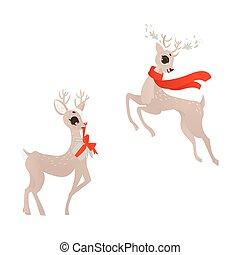 vector flat christmas reindeer set
