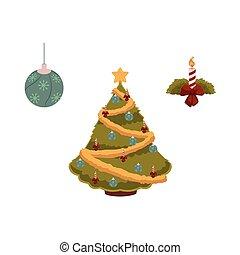 vector flat christmas symbols set