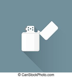 vector flat chromed petrol lighter illustration icon