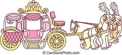 vector flat Cinderella carriage