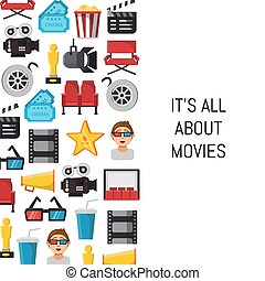 Vector flat cinema icons background with place for text illustration