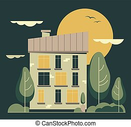 Vector flat City night landscape. Cartoon building.