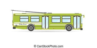 Vector flat city transit eco trolleybus public transport vehicle
