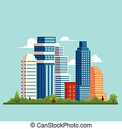 vector flat cityscape with building, skyscrapers