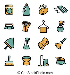 Vector flat cleaning icons set