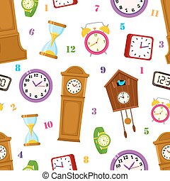 vector flat clock types icon seamless pattern