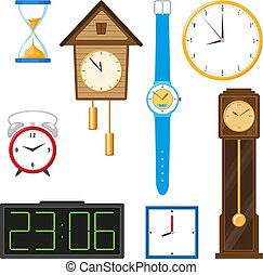 vector flat clock types icon set isolated