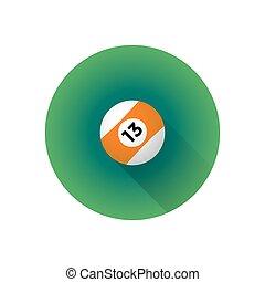 vector flat color billiard ball