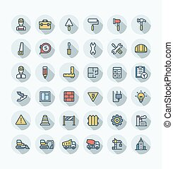 Vector flat color thin line icons set with construction, industrial, architectural, engineering outline symbols