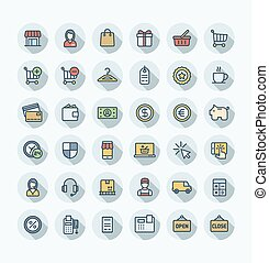 Vector flat color thin line icons set with shopping and e-commerce outline symbols.