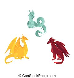 vector flat colored dragon with wings, horns set