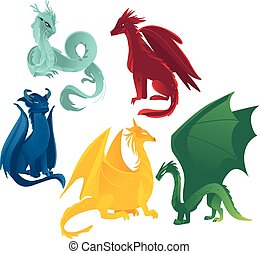 vector flat colored dragons set