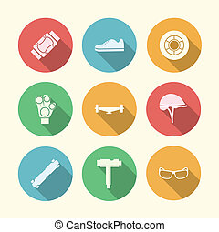 Vector flat colored icons for accessories for longboarders