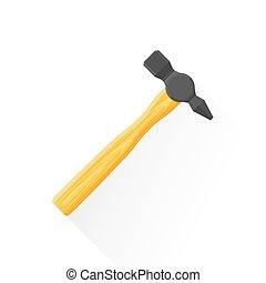 vector flat construction hammer illustration icon