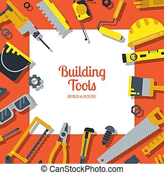 Vector flat construction tools background with place for text illustration
