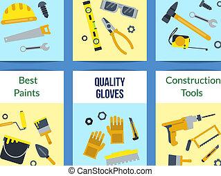 Vector flat construction tools card set