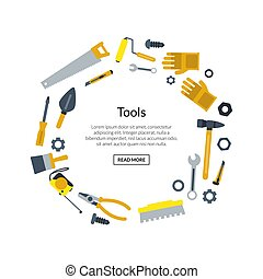Vector flat construction tools in circle shape with place for text illustration