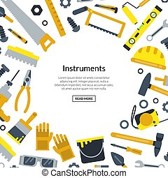 Vector flat construction tools with place for text illustration