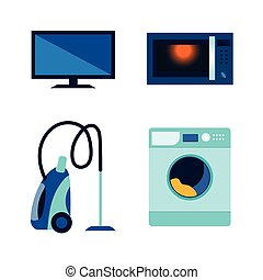 vector flat cartoon modern consumer electronics icon set. Highly detailed microwave oven, washing machine, washer vacuum cleaner and tv set or monitor. Isolated illustration on a white background.