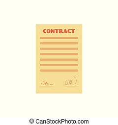 Vector flat contract paper document isolated icon