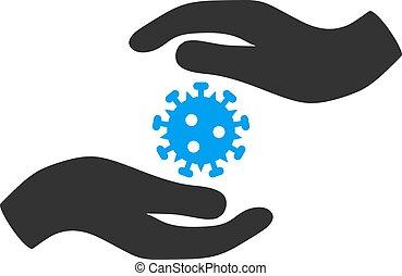 Vector Flat Coronavirus Care Hands Icon