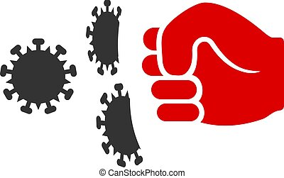 Vector Flat Coronavirus Fist Strike Icon