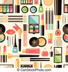 Vector flat cosmetics  seamless pattern. Beauty fashion products
