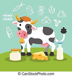 Vector flat cow