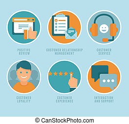Vector flat customer experience concepts - icons and ...