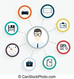 Vector flat customer office concept - icons and infographic design elements - client experience