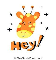 Vector flat cute giraffe illustration