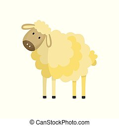 Vector flat cute hand drawn fluffy sheep