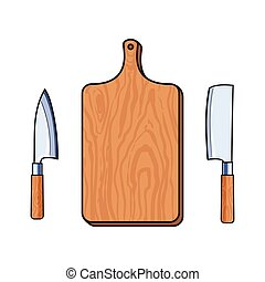 vector flat cutting board, cleaver carving knifes