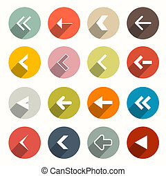 Vector Flat Design Arrows Set in Circles