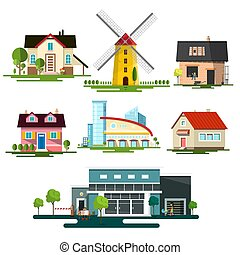 Vector Flat Design Buildings. Family House, Windmill and Modern Building Isolated on White Background.