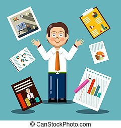 Vector Flat Design Businessman with Graphs on Papers