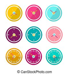 Vector Flat Design Clock Faces Set Isolated on White Background